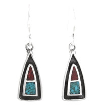 Small Navajo Turquoise Coral Silver Earrings 40287