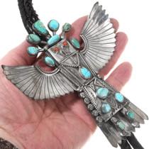 Vintage Turquoise Handmade Eagle Kachina Bolo Tie 40292