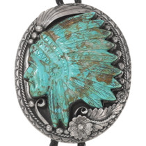 Turquoise Indian Chief Feather Headdress Carving Sterling Silver Bolo Tie 40294