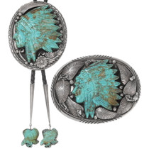 Carved Turquoise Native American Buckle Bolo Tie Set 40294