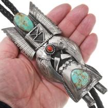 Large Handmade Kachina Design Turquoise Bolo Tie 40295