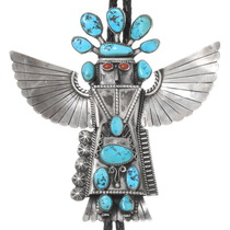Vintage Turquoise Sterling Silver Kachina Bolo Tie 40297