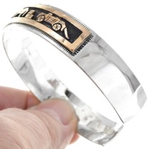 Gold Navajo Storyteller Cuff Sterling Silver Bracelet 40300
