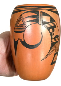 Hopi Tail Feather Design Pottery Jar 40314