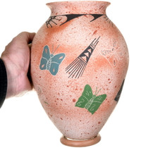 Hand Painted Butterfly Design Mata Ortiz Vase 40316