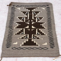 Vintage Two Grey Hills Navajo Wool Rug 40320