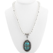 Turquoise Sterling Silver Navajo Pendant 40324