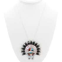 Turquoise Gemstone Inlay Kachina Pendant 40326