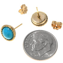 Navajo 14K Gold Sleeping Beauty Turquoise Earrings 40329