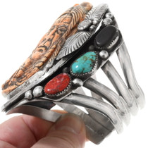Old Pawn Hand Carved Indian Chief Silver Cuff Bracelet 40331