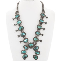 Navajo Turquoise Squash Blossom Necklace 40336