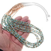 Turquoise Heishi Bead Seven Strand Necklace 40339