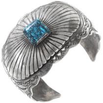 Vintage Spiderweb Turquoise Sterling Silver Navajo Cuff Bracelet 40342