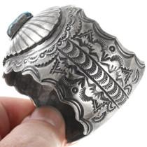 Navajo Hammered Pattern Sterling Silver Turquoise Bracelet 40342
