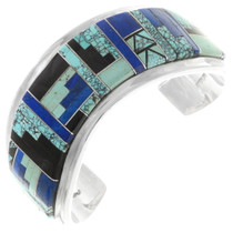 Vintage Turquoise Lapis Sterling Silver Cuff Bracelet  40343