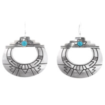 Turquoise Silver French Hook Navajo Earrings 40352