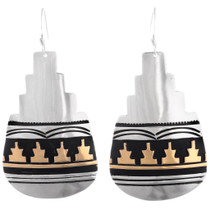 Native American Sterling Silver Gold Earrings 40355