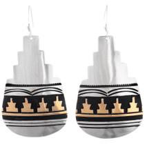 Native American Sterling Silver Gold Earrings 40355