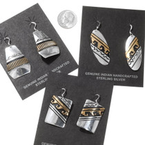 Native American Gold Silver Dangle Earrings 40356
