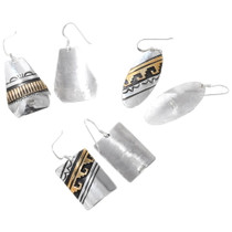 Sterling Silver Earrings Gold Navajo Wave Pattern Signed 40356