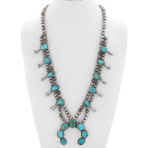 Old Pawn Turquoise Squash Blossom Necklace 40357