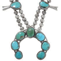 Sterling Silver Turquoise Native American Squash Blossom Necklace 40357