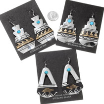 Navajo Turquoise Gold Sterling Silver Dangle Earrings 40358