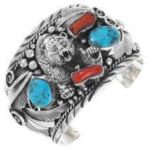 Navajo Sterling Silver Bear Bracelet 40362