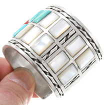 Mother of Pearl Turquoise Coral Tile Inlay Sterling Silver Bracelet