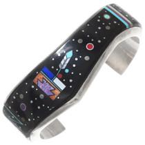 Vintage Navajo Micro Inlay Sterling Silver Cuff 40368