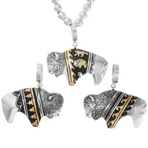 Native American Buffalo Design Silver Gold Pendant 40370