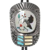 Vintage Zuni Hummingbird Silver Bolo Tie 40379