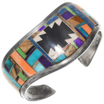 Vintage Native American Gemstone Inlay Cuff Bracelet 40382