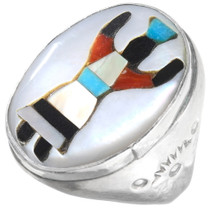 Vintage Navajo Inlaid Turquoise Shell Ring