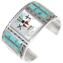 Vintage Turquoise Silver Kachina Bracelet 40389