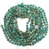 11mm Flat Disc Real Turquoise Beads 37131