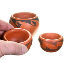Set of 3 Hopi Redware Pottery 40403