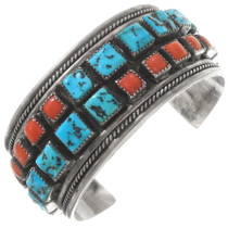 Vintage Turquoise Coral Sterling Silver Navajo Cuff Bracelet 40410