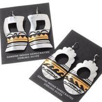 Sterling Silver Gold Navajo Wave Pattern Dangle Earrings 40419