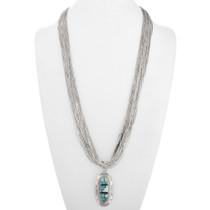Vintage Turquoise Opal Pendant Liquid Silver Necklace 40426