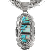 Opal Turquoise Inlay Sterling Silver Pendant 40426