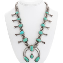 Old Pawn Turquoise Squash Blossom Necklace 40431