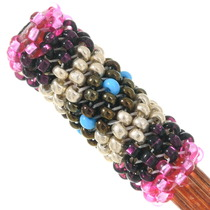 Colorful Hand Beaded Design Wooden Hair Stick 40435
