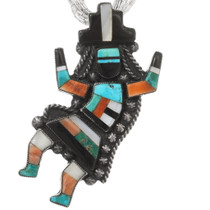 Zuni Gemstone Inlay Knifewing Kachina Pendant 40442