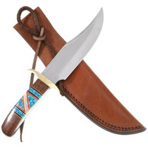 Navajo Inlaid Turquoise Bowie Knife 40446