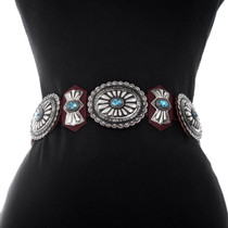 Native American Silver Turquoise Concho Belt 40448