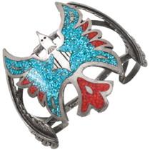 Old Pawn Turquoise Coral Navajo Peyote Bird Bracelet 40458