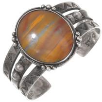 Vintage Sterling Silver Petrified Wood Bracelet 40460