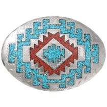 Vintage Silver Turquoise Coral Belt Buckle 40462