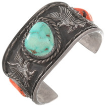 Navajo Old Pawn Turquoise Coral Silver Eagle Bracelet 40463